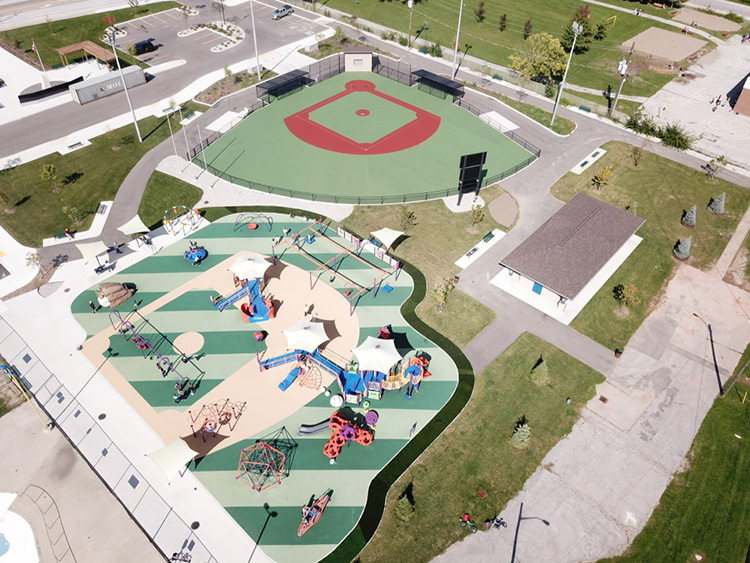 Overhead view of Miracle Park baseball diamond and playground