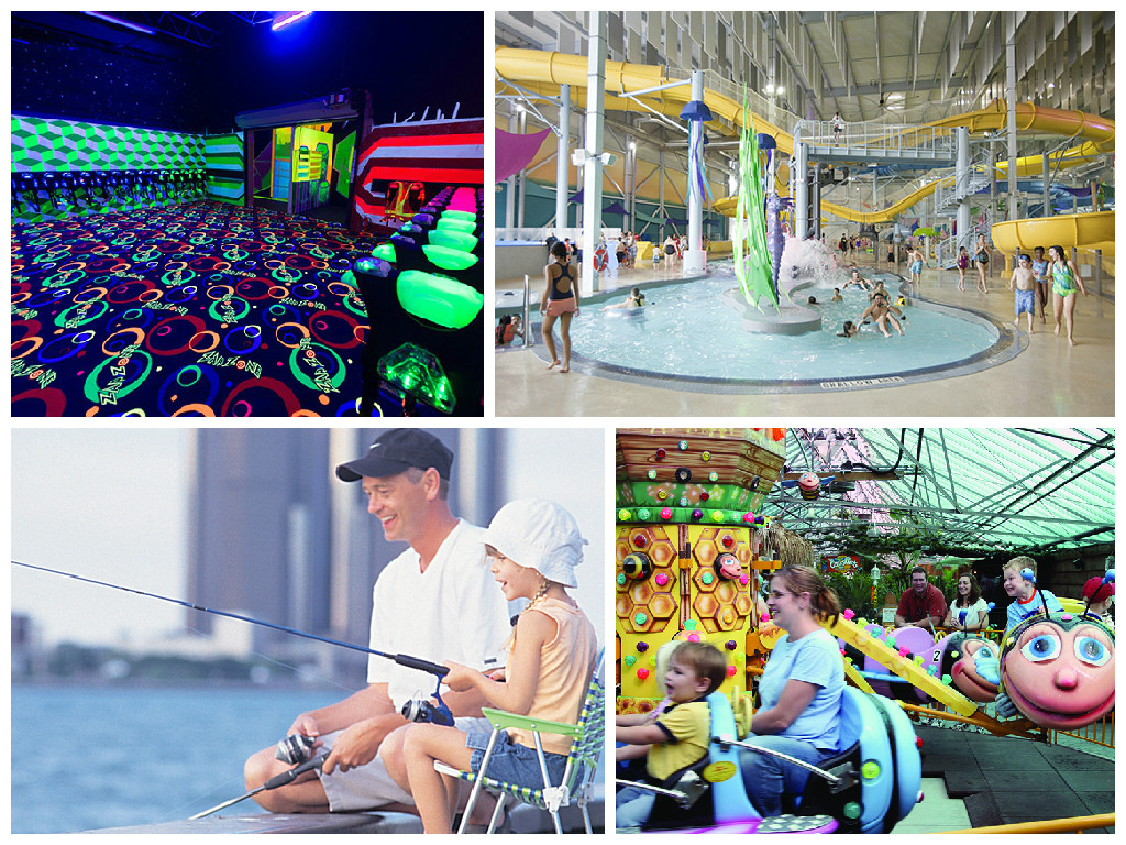 Collage showing indoor and outdoor family fun facilities