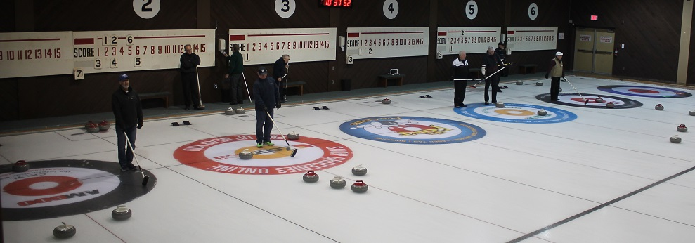 Branded circles on the Roseland curling rink