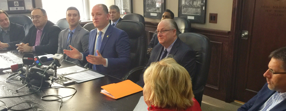 Mayor Dilkens at a press conference for Economic Development in Windsor
