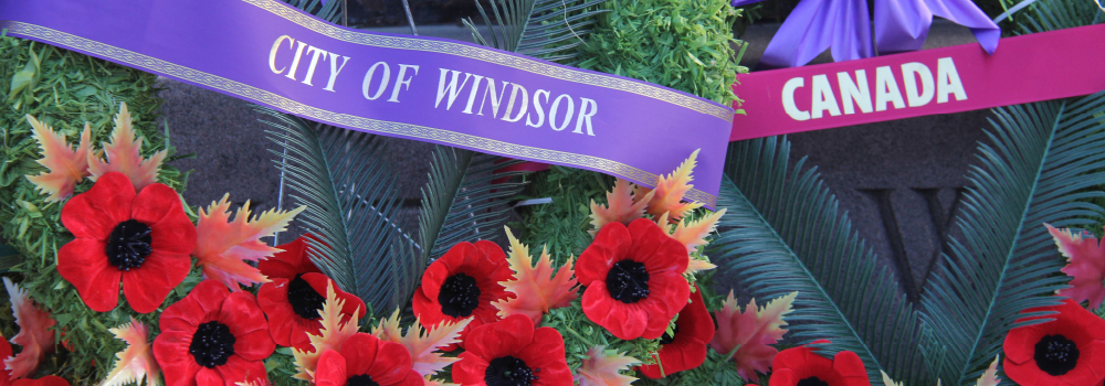 City of Windsor and Canada Wreaths at Remembrance Day Service