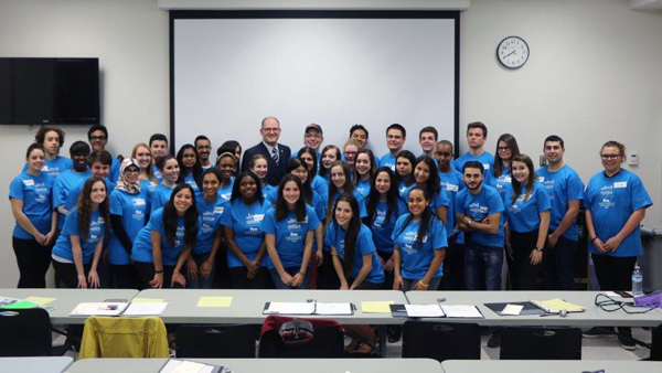 Group photo of Mayor's Youth Leadership Team with Mayor Dilkens