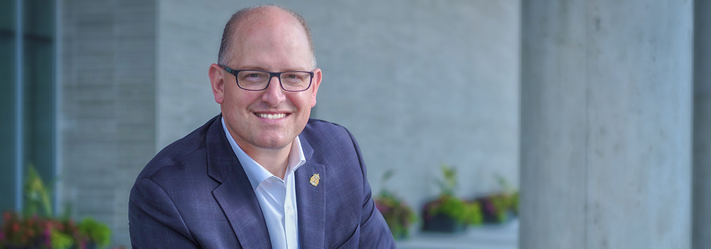 Mayor Drew Dilkens outside Windsor City Hall in 2018