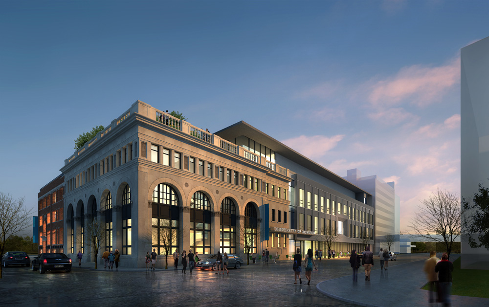 Artist rendering of rejuvenated Windsor Star building