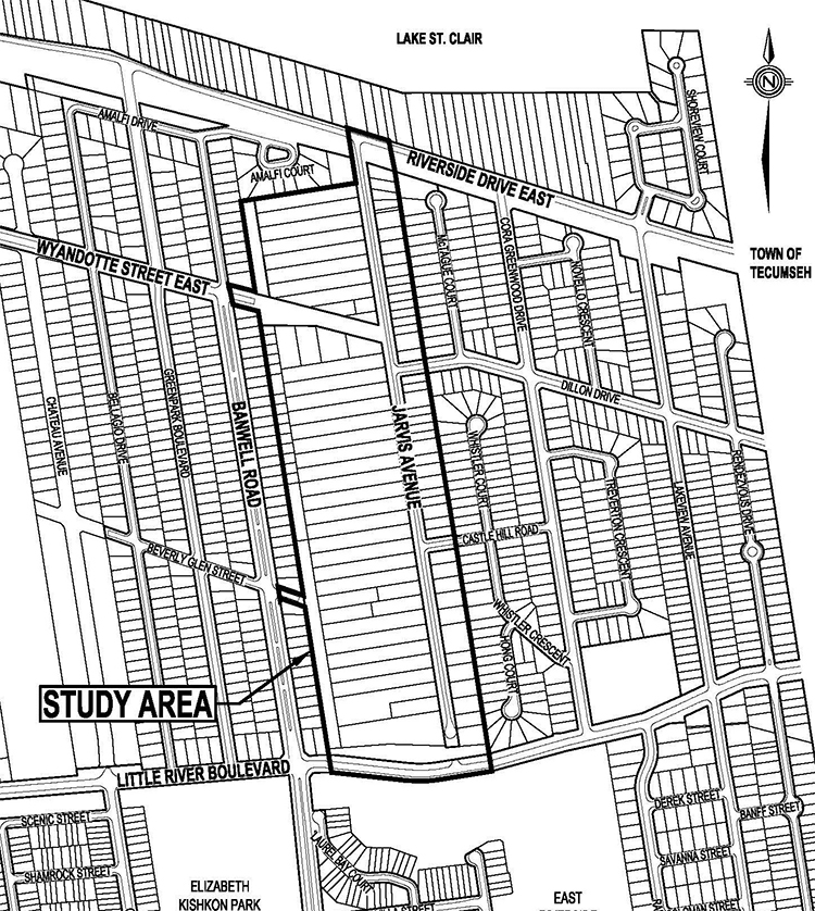 Map of Environmental Assessment study area, Wyandotte East to Jarvis
