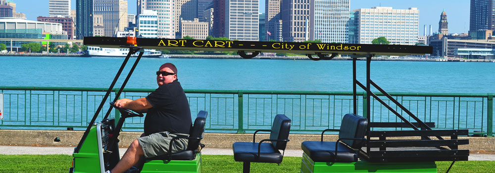 Art Cart and Driver at Windsor's waterfront