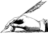 Image of hand writing with quill pen