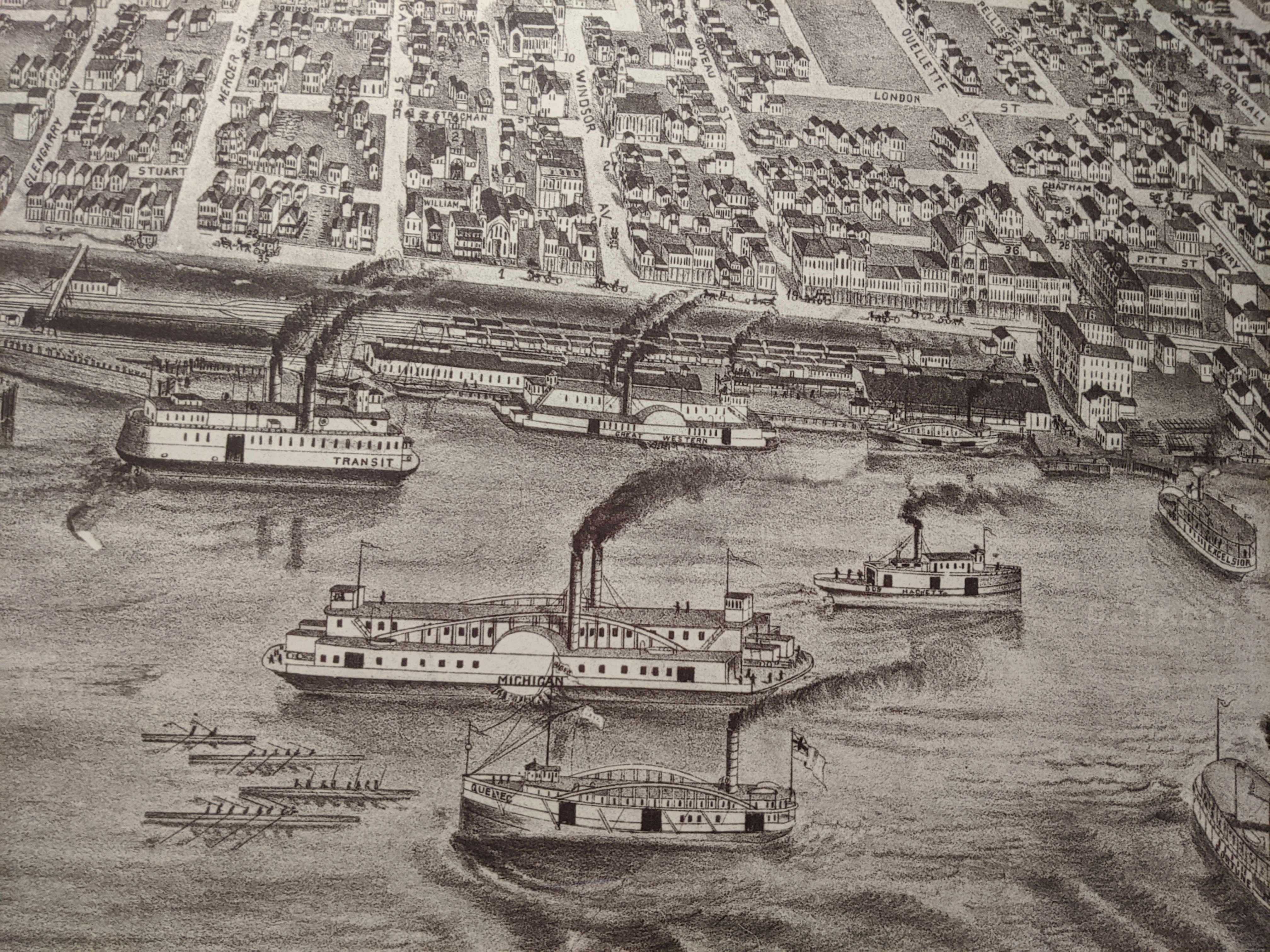 Historical drawing of boats on the Detroit River