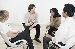 Employees gathered for a discussion