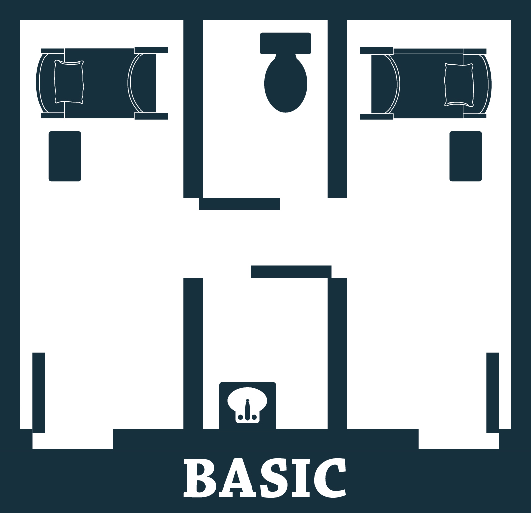 Graphic showing a basic room, including two bedrooms and one shared bathroom