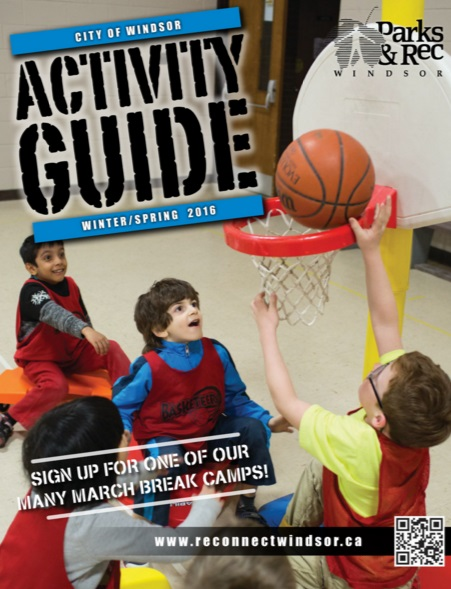 Guide cover with kids shooting hoops