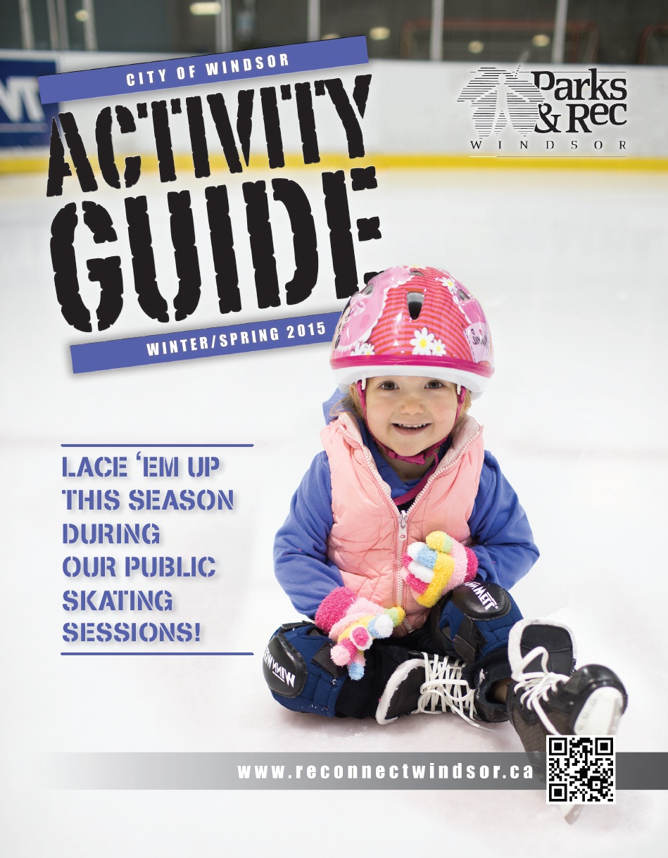 Activity Guide showing little girl on skating rink