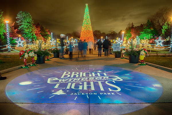 Bright Lights Windsor logo illuminates the entrance path