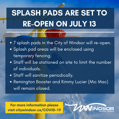 Splash pad re-opening info, as detailed below