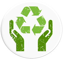 Increase Resource Efficiency logo of hands and the recycle symbol