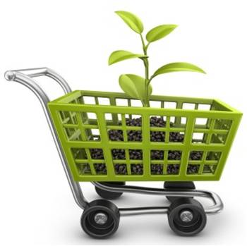 Sapling in a green shopping cart