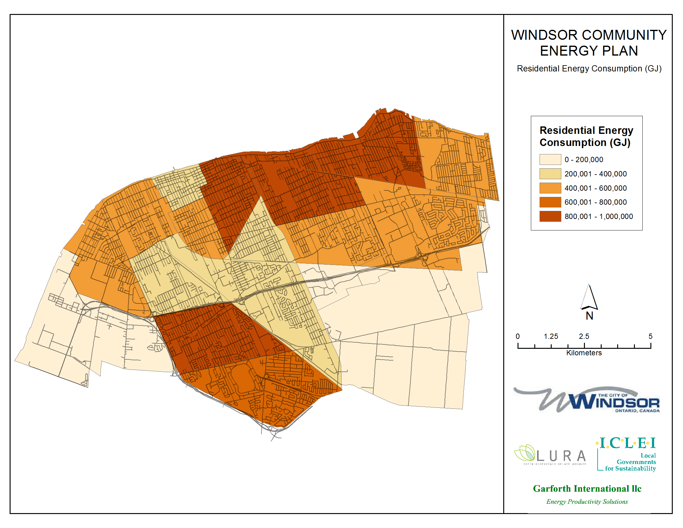 Thumbnail map of residential energy consumption within the City of Windsor