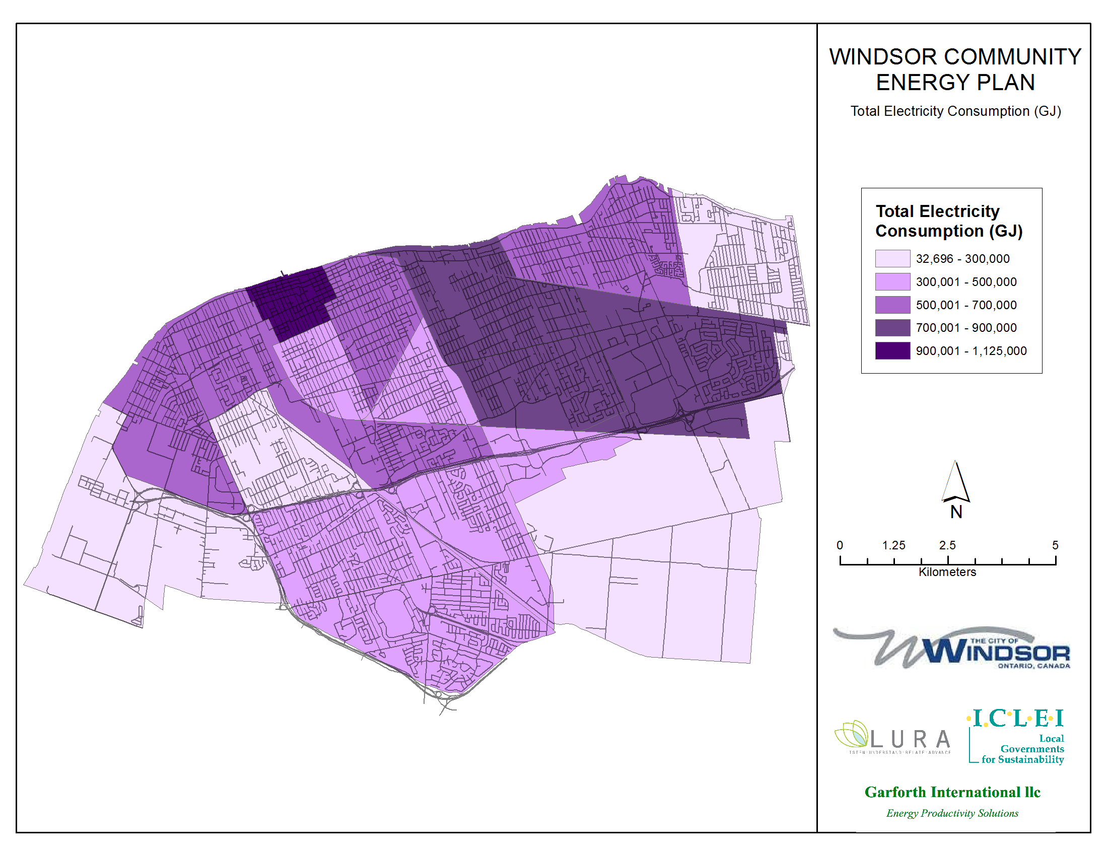 Thumbnail map of total electricity consumption within the City of Windsor