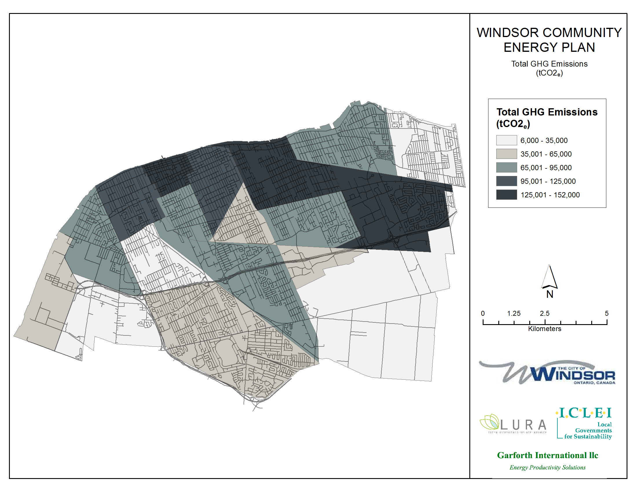 Thumbnail map of total greenhouse gas emissions within the City of Windsor