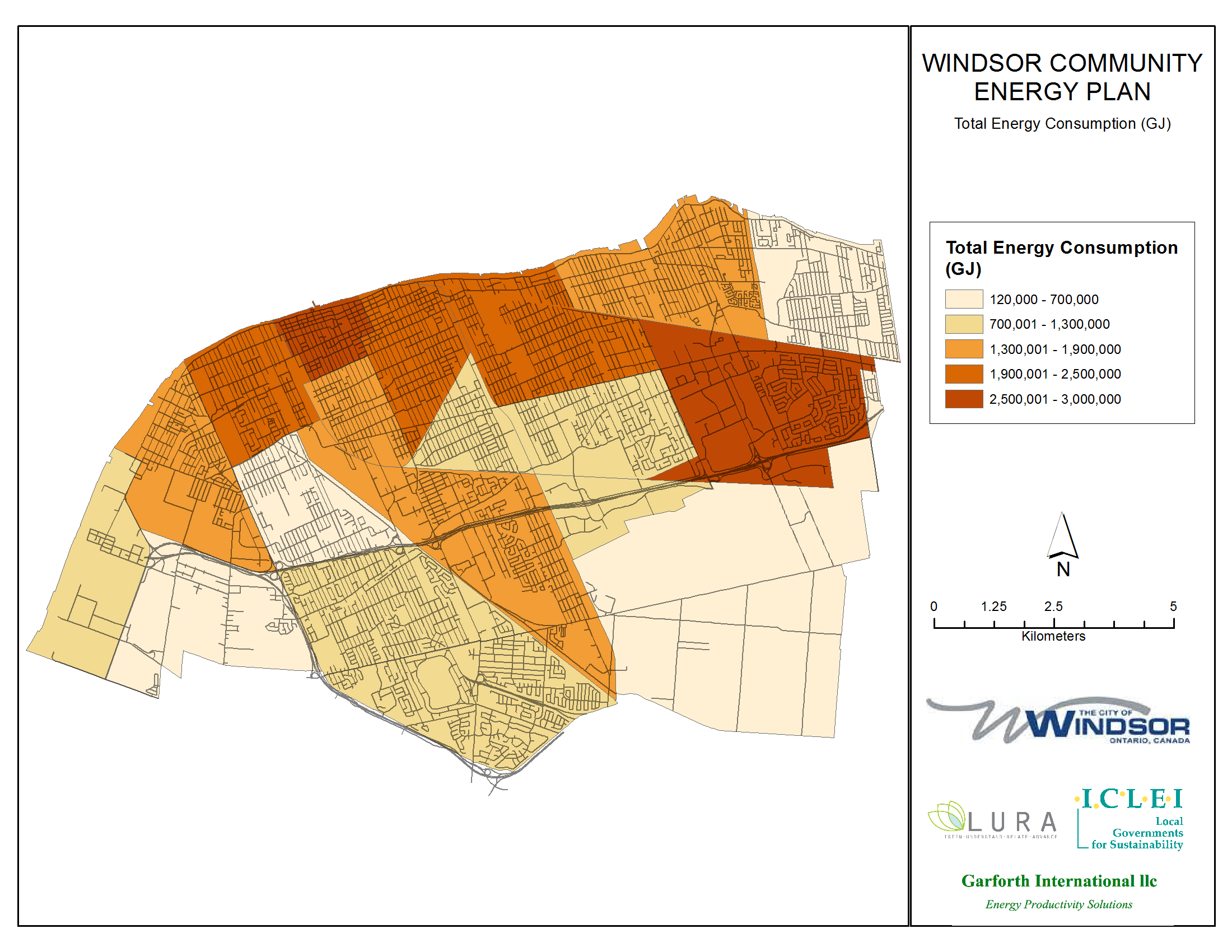 Thumbnail map of total energy use within the City of Windsor