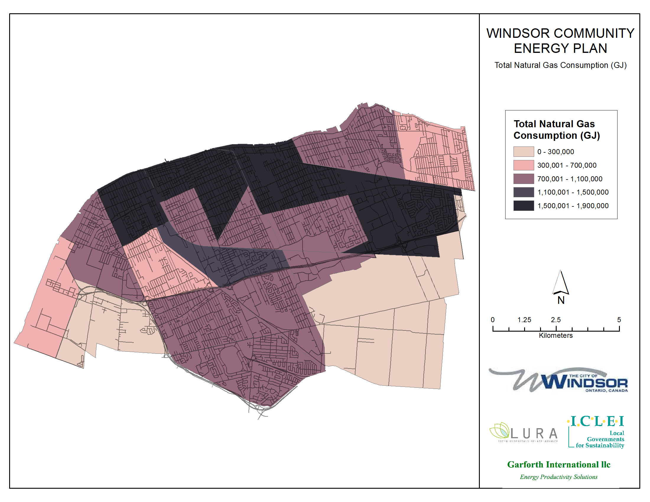 Thumbnail map of total natural gas consumption within the City of Windsor