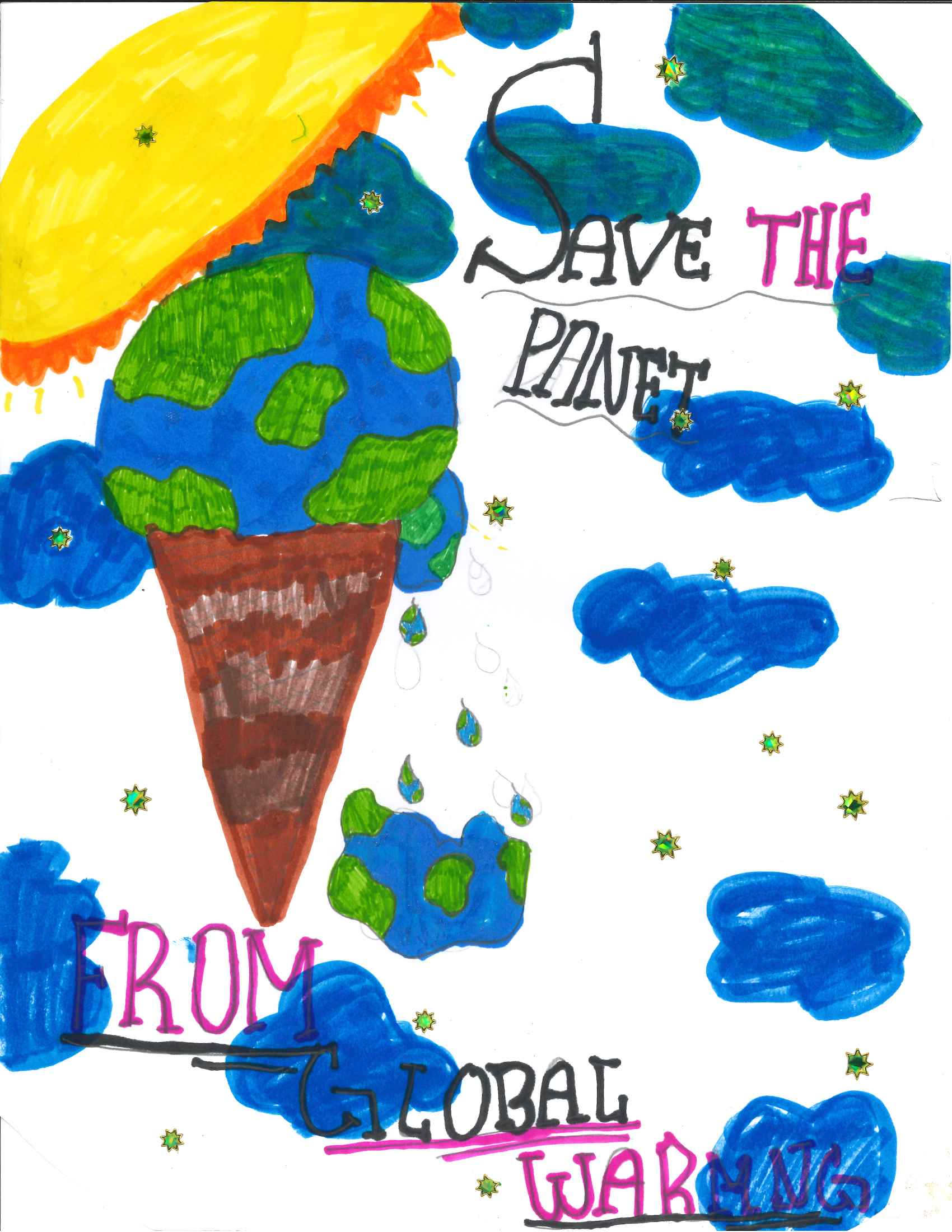 Candice, Grade 2 drawing, Save teh Planet from Global Warming