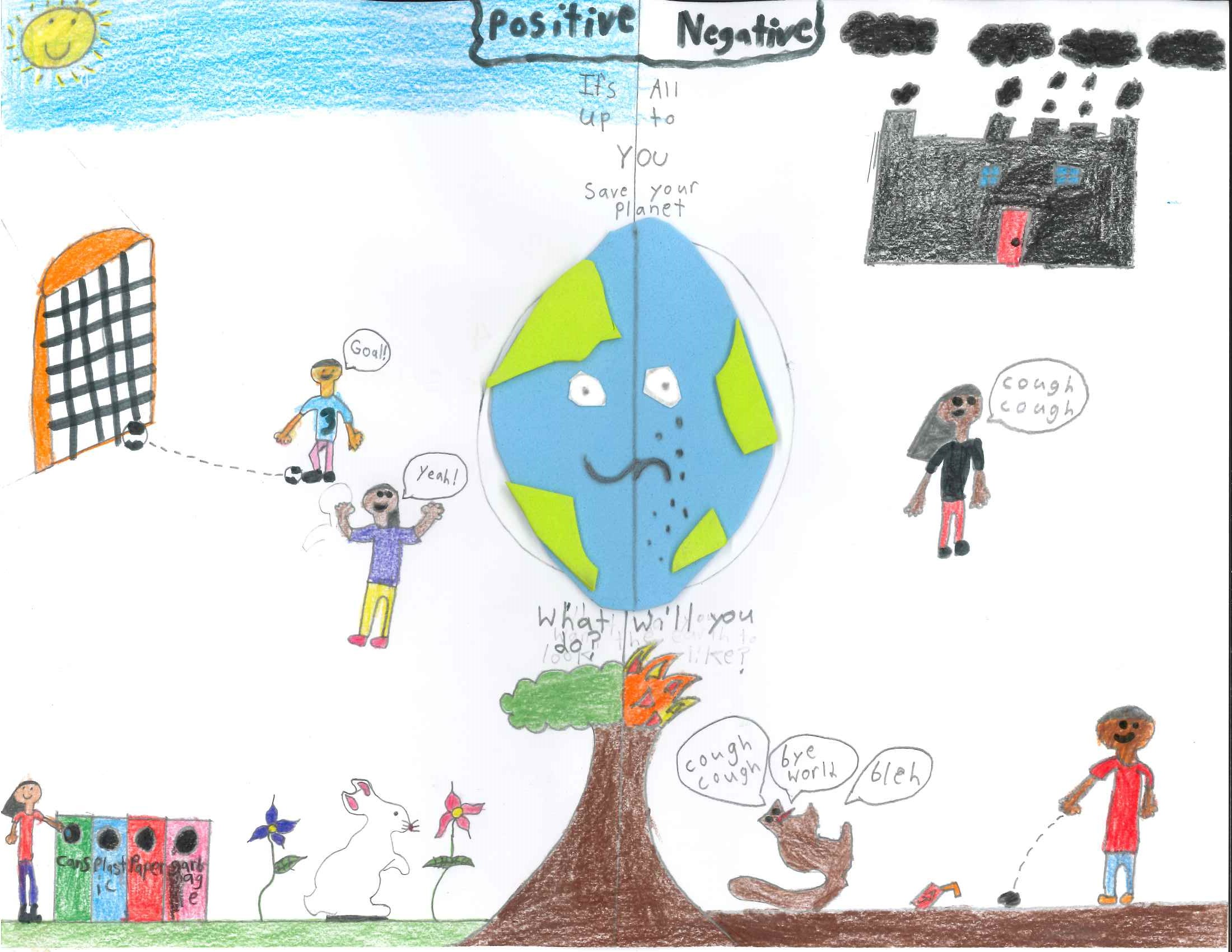 Manroop, Grade 4 drawing, positive and negative choices and their environmental impacts