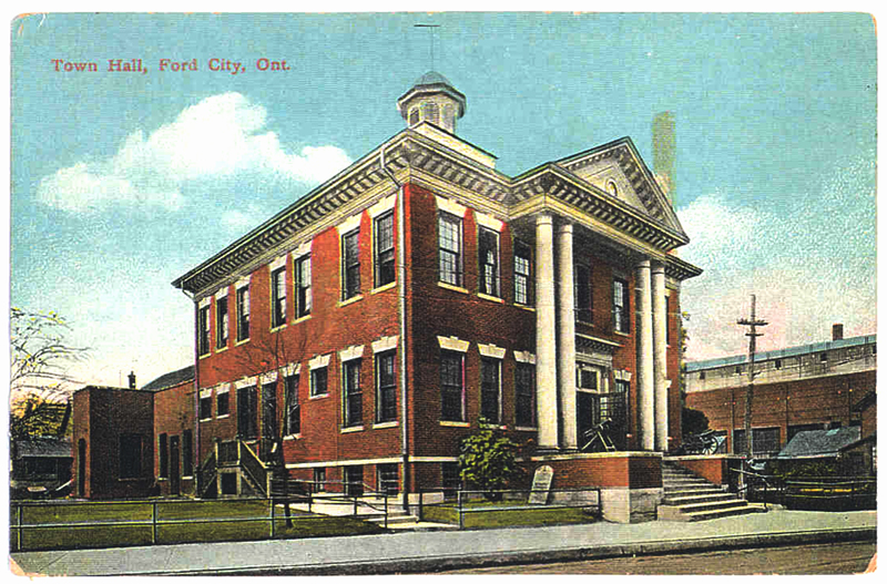 Historic postcard showing Ford City town hall