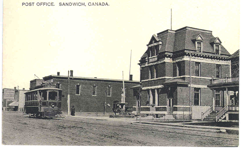 Postcard showing Sandwich post office