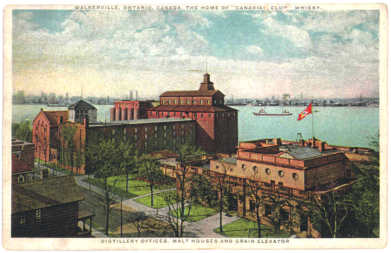 Historic postcard showing Hiram Walker buildings