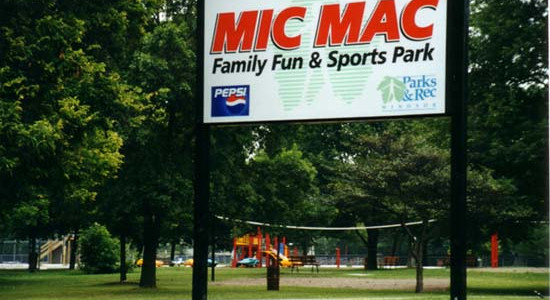 a shot of the signage and surroundings at Mic Mac Park