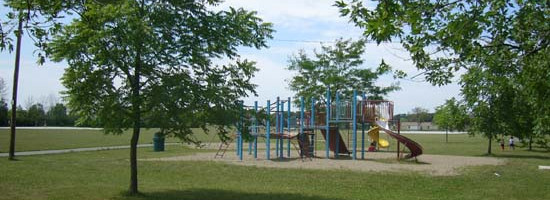 a shot of the playground equipment and surrounding trees at the Walker Homesite Park
