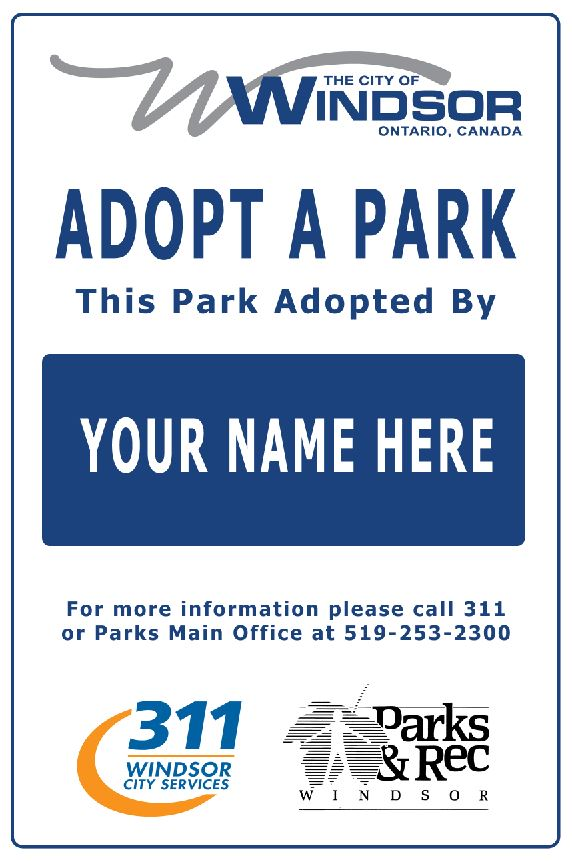 Adopt a Park sign example