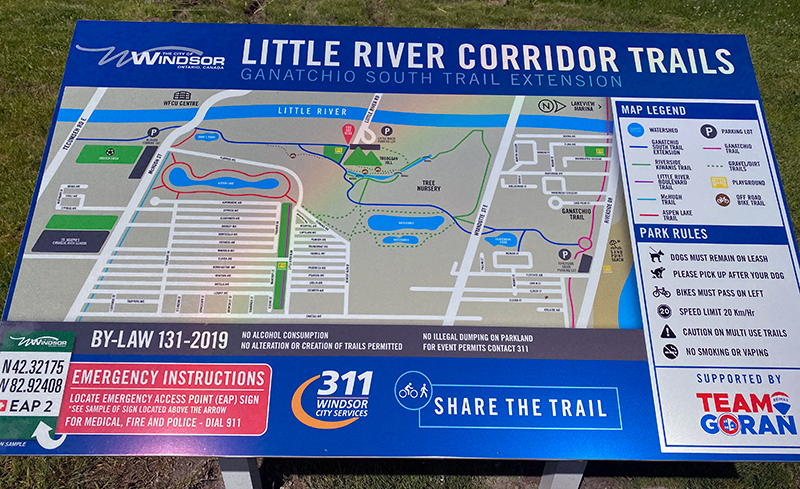 Little River Corridor Trails sign with map