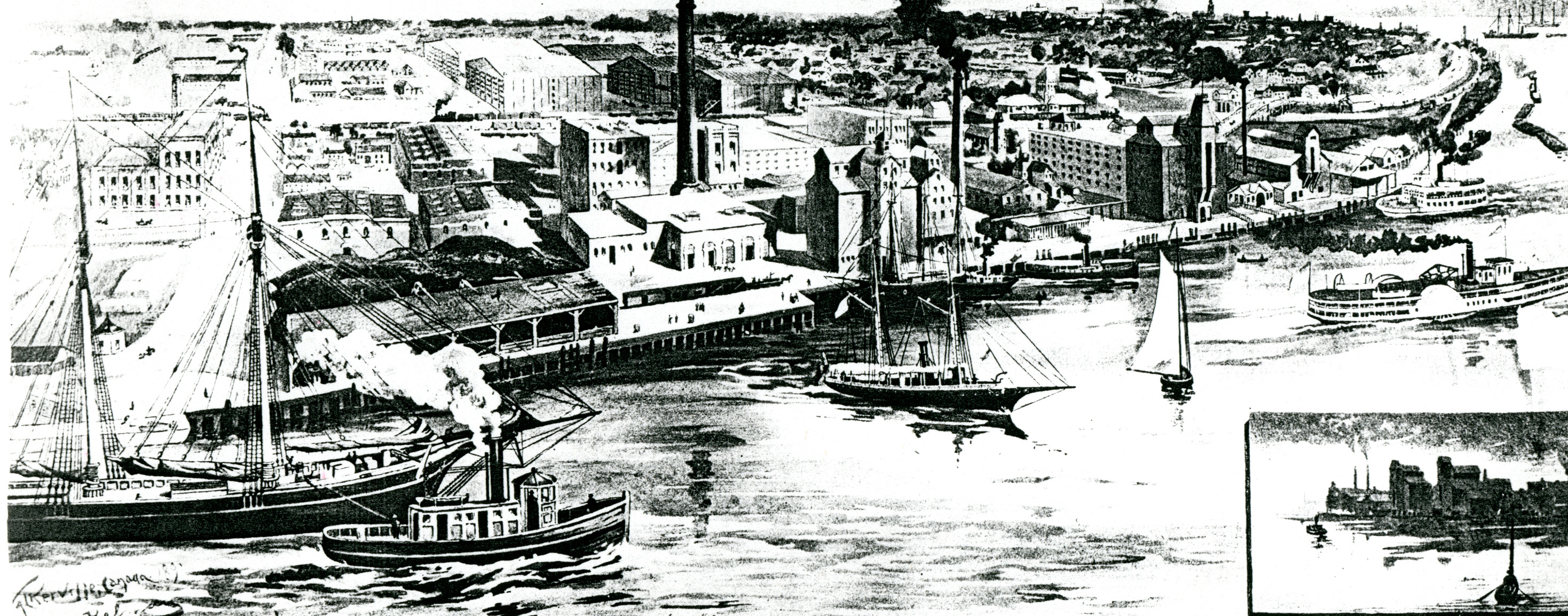 Historical drawing of the Walkerville riverfront