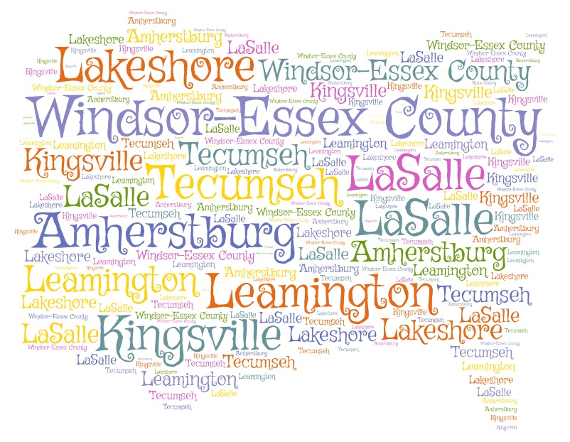 Windsor-Essex County image with names of subdivisions written inside
