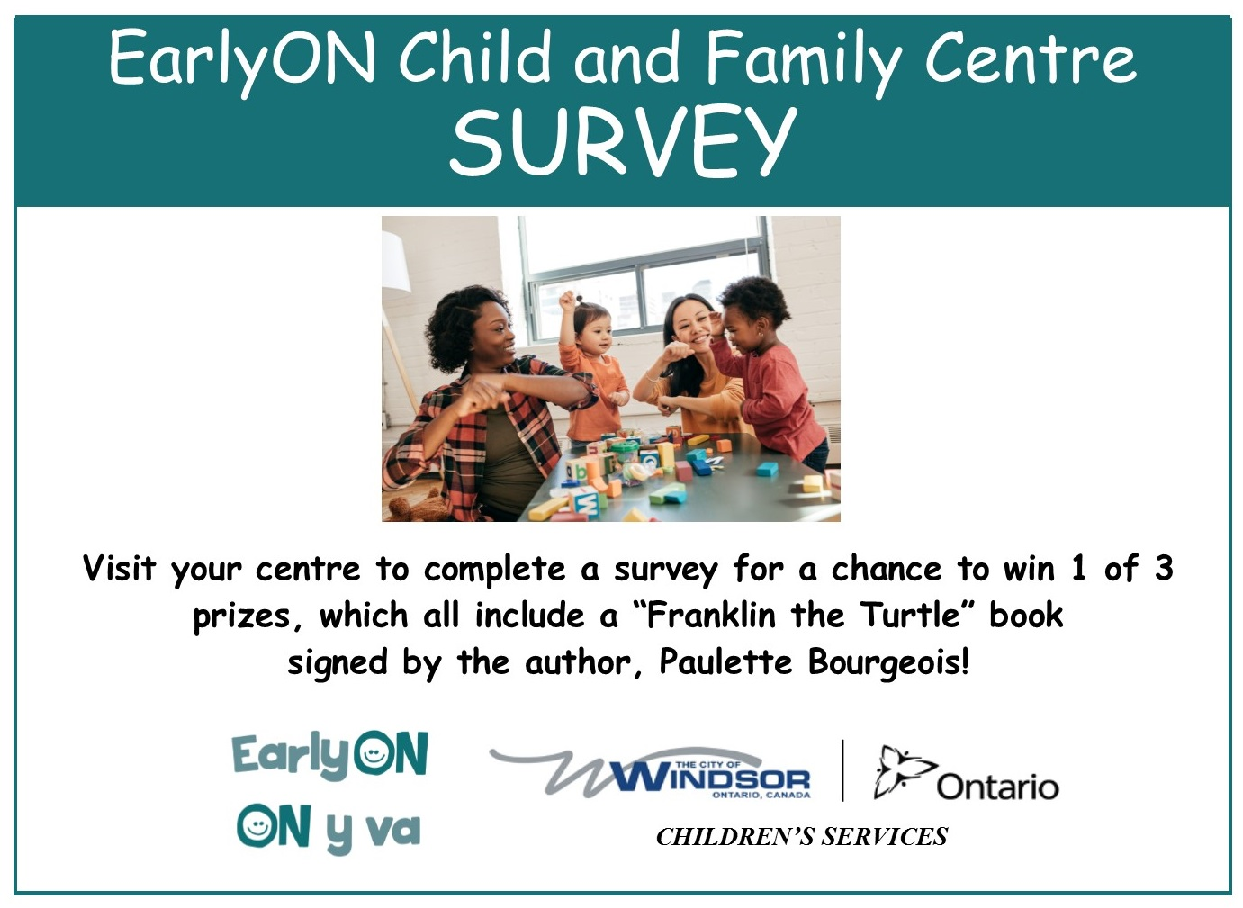 EarlyON Child and Family Centre survey promo