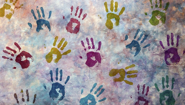 Multicoloured hand prints