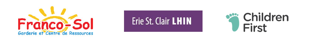 Logos for Franco-sol, Erie St. Clair LHIN and Children First