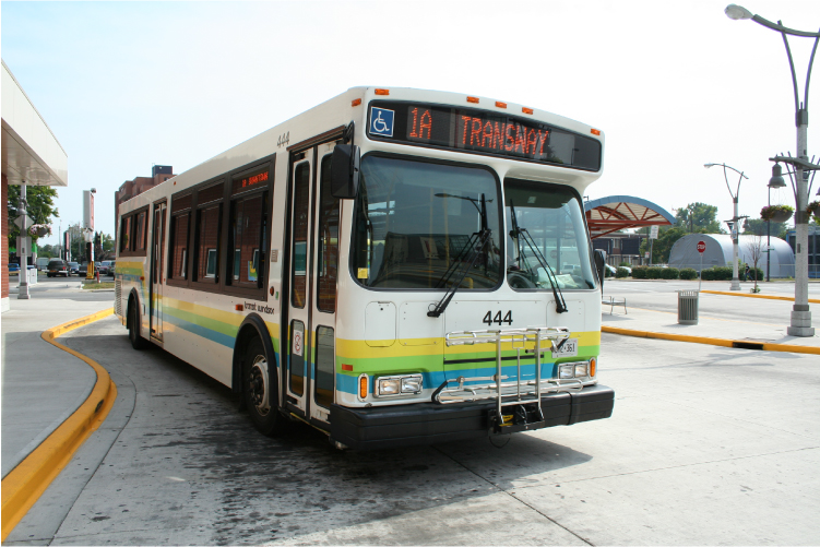 1 A bus at the downtown transit terminal