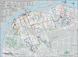 Full Colour Double Line Street Map Showing City Streets Names Parks Major Buildings Rail Lines Water Courses Expressway Boundary